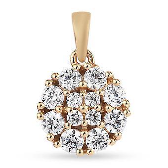 J Francis Cluster Anhänger Swarovski Zirkonia für Frauen Vergoldet Silber 1.83ct