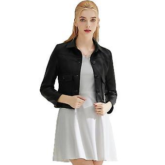 Mimigo Femmes Faux Cuir Bomber Veste Zipper Moto Biker Manteau Outwear Avec Poches Noir Jaune Rose Gris