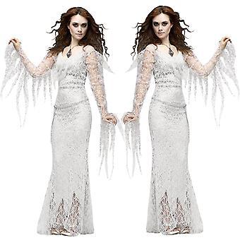 Halloween White Dryad Herecká uniforma, Prom Party Vampire Ghost Bride Cosplay Kostým