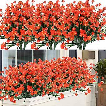 8 paquetes al aire libre artificial fake flowers arbustos plantas resistentes a los rayos uv, falsa vegetación plástica (púrpura)