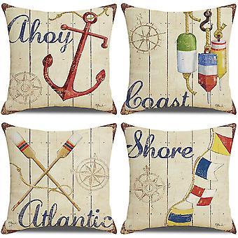 Pakkaus 4 tyynynpäällistä 18x18 merityökalut kuvio puuvilla pellava koristeellinen heittää tyynynpäälliset tyynyliinat sohvalle