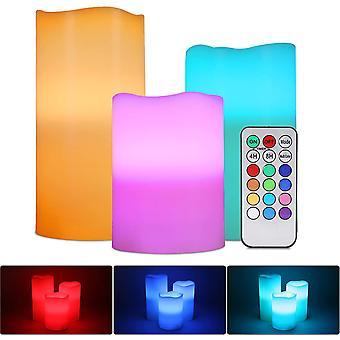 Rgb LED gyertya lámpa, 3 db multicolor eredeti lángmentes tea fény akkumulátorral működtetett LED gyertya távirányító időzítő beltéri kültéri esküvői Chr