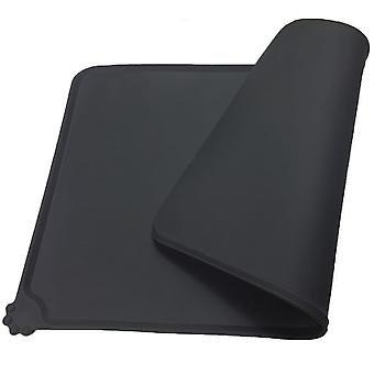 Tapis d'alimentation pour animaux de compagnie, antidérapant imperméable à l'eau Silicone Dog Cat Bowl Mat, noir