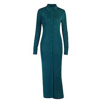 שמלת סתיו חדשה מרקם High Waist סרוג שרוול ארוך פיצול דש שמלה