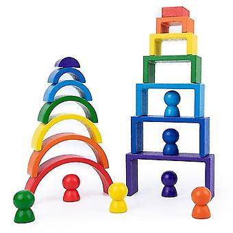 Qian Drewniane puzzle dla dzieci Kolorowa tęcza dla dzieci Kreatywne tęczowe klocki Montessori