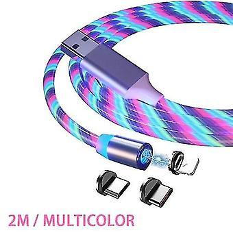 2m Magnetický nabíjecí kabel Rychlonabíjecí mobilní telefon Nabíjení kabel-blesk 3 v 1