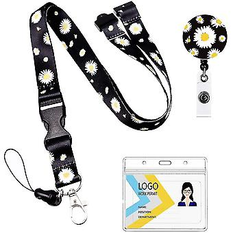 (Sunflowers)Neck Lanyard And Retractable Reel Set Flowered Pattern