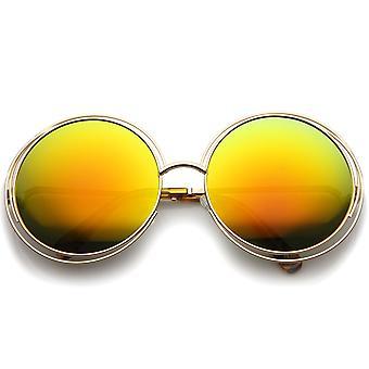 Women's High Fashion Oversize Wire Frame Mirror Lens Round Sunglasses 61mm