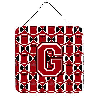 Letter G Football Red, Black and White Wall or Door Hanging Prints