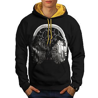 Hoofdtelefoon Forest mannen zwart (gouden kap) Contrast Hoodie | Wellcoda