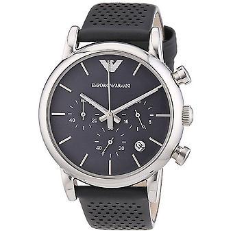 Emporio Armani Chronograph Mens Watch Strap gris cadran gris AR1735