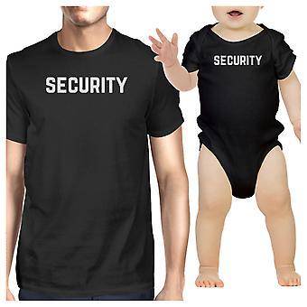 طفل تي شيرت رجالي أسود الأمن ملامستهما مضحك مطابقة القمصان الهدايا