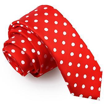 Schmaler Krawatte Red Polka Dot