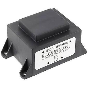 Gerth PTA544802 PCB mount transformer 1 x 230 V 2 x 24 V AC 16 VA 333 mA
