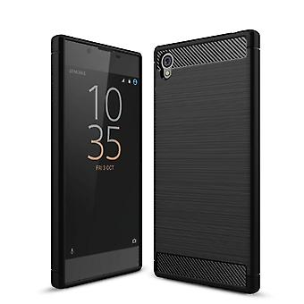Sony Xperia L1 TPU case carbon fiber optics geborsteld beschermhoes zwart