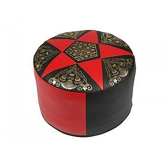 Seteputen puff med rart Oriental pute rundt faux skinn rød/svart bredde 50 cm høyde 34 cm