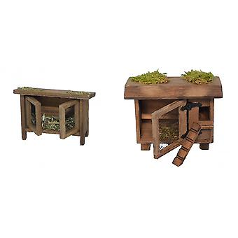 Nativity accessories stable Nativity set chicken and rabbit Hutch without animals