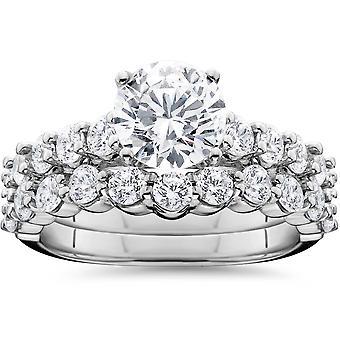 2 1 / 15ct anel de noivado com correspondência casamento banda 14K White Gold