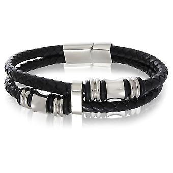 Skipper bracelet leather bracelet magnetic clasp black 7451