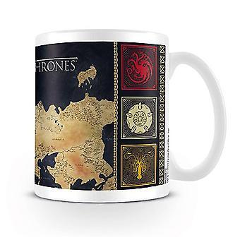 Game of Thrones Tasse Map  weiß, bedruckt, aus Keramik, Fassungsvermögen ca. 320ml., in Geschenkkarton.