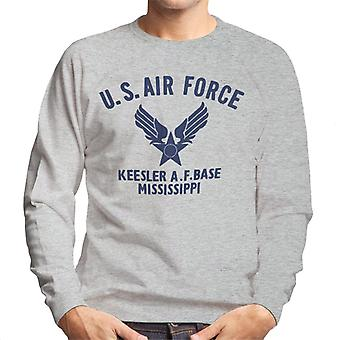 US Airforce Keesler AF Base Mississippi Navy Blue Text Men's Sweatshirt
