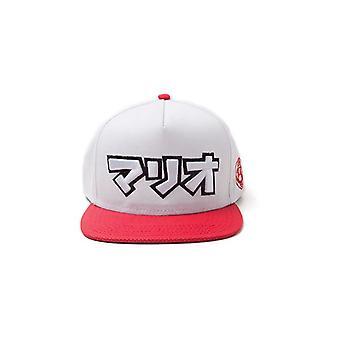 Super Mario Bros Japanese Mario Logo Snapback Baseball Cap Grey/Red