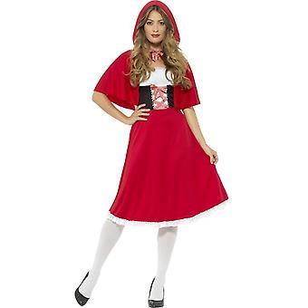 Езда Худ костюм красный, красный, с больше длина платье & мыс