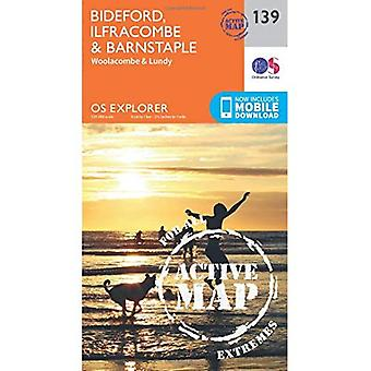 OS Explorer Karte aktiv (139) Bideford, Ilfracombe und Barnstaple (OS Explorer aktive Karte)