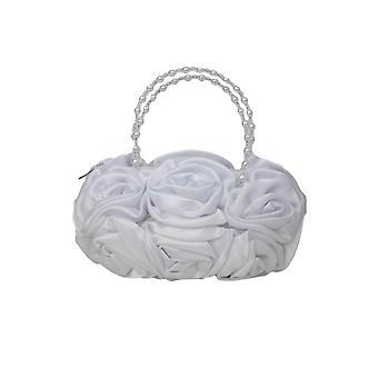 White Satin Ruffle Rose Flower Girls Handbag