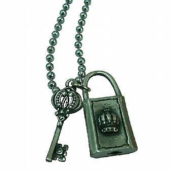 Lock & Key Crown HipHop Pendant Necklace
