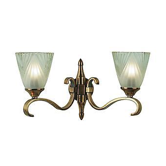 Doppia luce Columbia Applique in ottone con paralumi in vetro Deco - interni 1900 63451