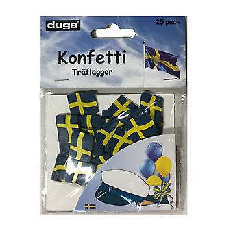 Confetti Swedish Flags Wood 25-P student Midsummer