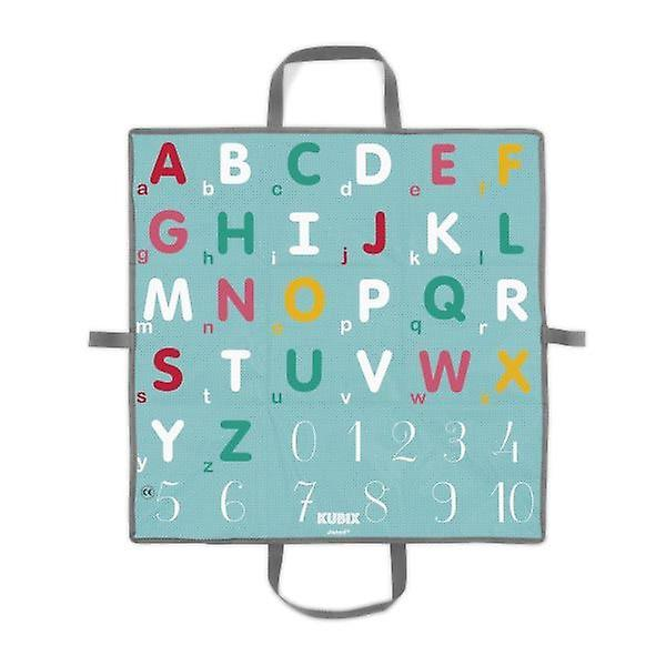 Janod Kubix - 40 Letters and Numbers Wooden Blocks with Play Mat