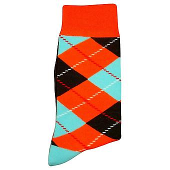 Bassin and Brown Argyle Socks - Orange/Blue/Black