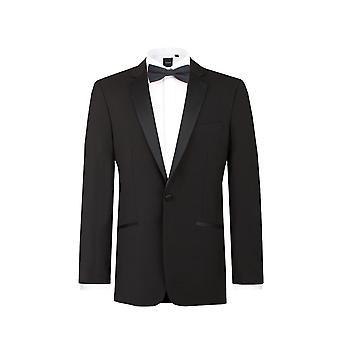 Dobell Herre sort smoking middag jakke passer regelmæssig 100% uld Notch revers