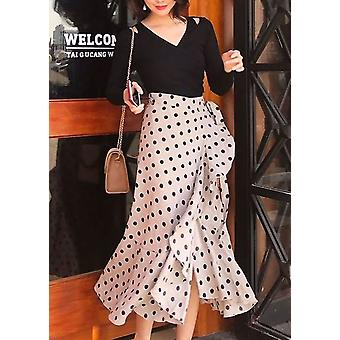 Polka Dot e controllo stampa Wrap Increspature Midi Skirt Beige