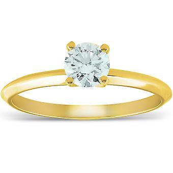 14k żółty złoto 5/8 ct okrągły diament pierścionek zaręczynowy z akwamarynem