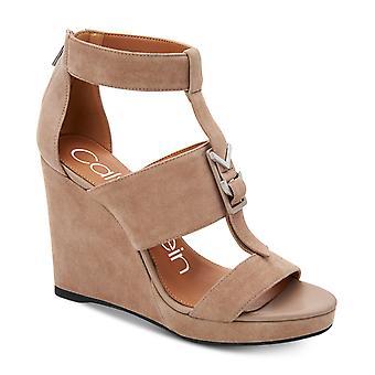 Calvin Klein Womens Racquel Leather Open Toe Casual Platform Sandals