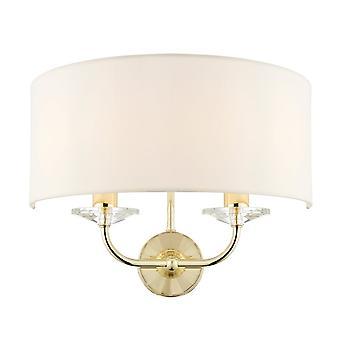 Endon lyseffekt Nixon 2 lys messing og krystal væglys med Vintage hvid nuance