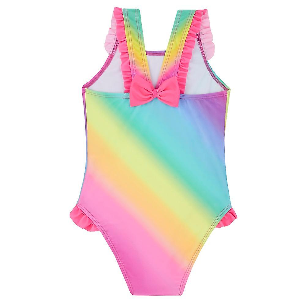 Girls rainbow coloured unicorn swimming costume