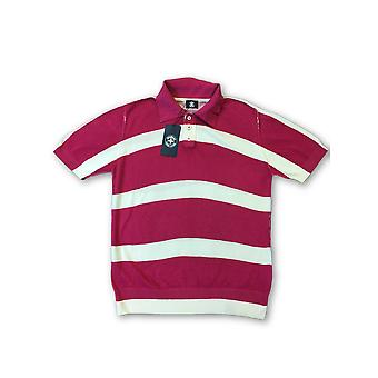 Strellson Swiss Cross polo in pink and white stripe