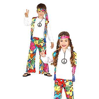 Childrens 1970s hippie Fancy kjole kostume