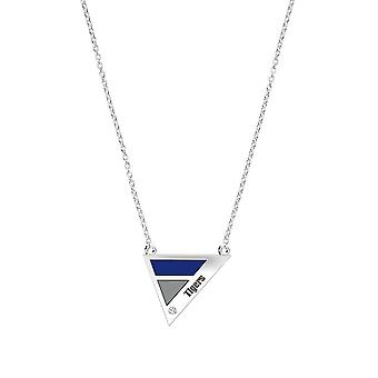 University Of Memphis Engraved Sterling Silver Diamond Geometric Necklace In Blue and Grey
