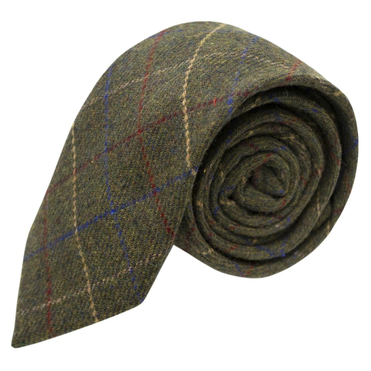 Heritage Check Regency Green Tie, Tweed, Mens Necktie