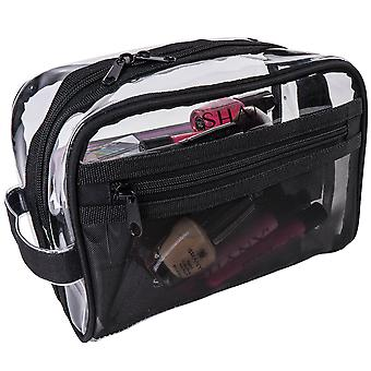SHANY klar toalett och Sminkväska med plast mesh Pocket-medium giftfri researrangör med handtag-svart mesh