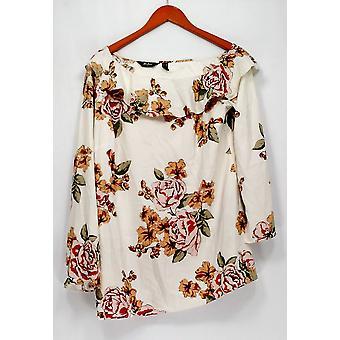 Du jour Top um ombro impresso Top com ruffle pescoço marfim A293738