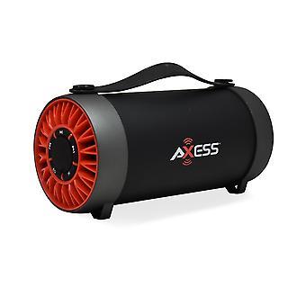 轴便携式蓝牙媒体扬声器,带 4+quote;低音炮和调频收音机 - 红色