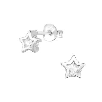 Star - 925 Sterling Silver Cubic Zirconia Ear Studs - W30279X