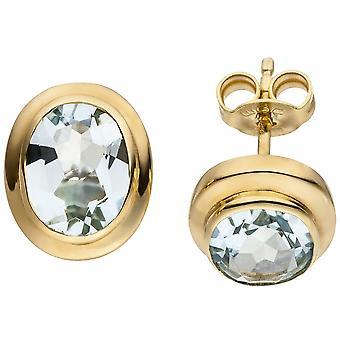 Aquamarine earrings 585 Gold Yellow Gold 2 gold aquamarine earrings