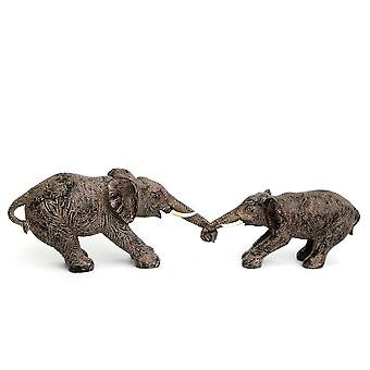 Resin Elephants Holding Trunks Animal Ornament Statues Wild Life Decoration